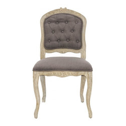 Safavieh - Camellia Side Chair - Set of 2 - The Camellia side chair is classically Country French from its beautifully carved frame to its pickled oak finish.  Charming Louis XV harp back styling and cabriole legs are contrasted with chinchilla brown fabric in a blend of cotton and polyester.