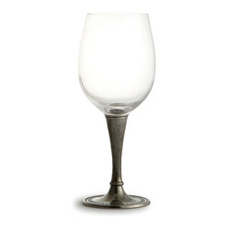 Anna Wine Glass - Set of 2 - Unexpected and handsome, the pewter stem of the Anna Wine Glass flares to a wide peak that supports a delicate glass bell.  On its foot, the authentic pewter has been stamped with a simple, classic design drawn from sensible needlework adornment, as the craftsmen who make the glass pay homage to another form of handmade European artistry.