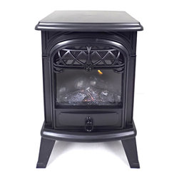 None - Aspen Collection Electric Wood Burning Stove - Read your favorite book or simply sit back and relax in the warmth of the Aspen Collection electric wood burning stove. Perfect for small rooms, this traditional unit features two heat settings and a flame effect.