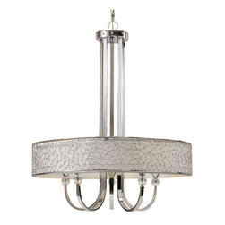 Uttermost Brandon Nickel 5 Light Shade Chandelier - Nickel plated metal with a silver champagne fabric liner and crystal details. Contemporary metal abstract designs with a nickel plated finish encases a silver champagne liner with crystal elements.
