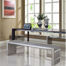 """LexMod - Gridiron Benches Set of 3 in Silver - Gridiron Benches Set of 3 in Silver - Silver rivers of laughter race back and forth in this high energy modern piece. Gridiron's sleek stainless steel bench contains a message of transformation and metamorphosis. Exuberance abounds as the strategic placement of this piece will radiate a happy atmosphere. Set Includes: One - Gridiron Small Stainless Steel Bench Two - Gridiron Large Stainless Steel Benches Short Bench: Stainless Steel, Easy to Clean, For Indoor or Outdoor Use, Long Benches: Perfect modern bench or table, Brushed stainless steel finish Overall Small Bench Dimensions: 15""""L x 19.5""""W x 16.5""""H Overall Large Bench Dimensions: 60""""L x 15""""W x 16.5""""H - Mid Century Modern Furniture."""