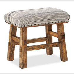 Caden Nailhead Stool - The soft stripes on this stool would help it blend beautifully in any space, be it a living room or a library.
