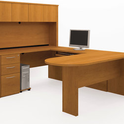 Bestar - Bestar Embassy Cappuccino Cherry 66 x 100 U-Shaped Workstation Desk - The work surface is made of a durable 1 inch commercial grade work surface with melamine finish that resist scratches stains and wears. It features an impact resistant 0.25 cm PVC edge and classic moldings. Grommets and a rubber strip are available on the station for efficient wire management. The hutch for credenza offers a large closed storage space. The opening has 11 3/4 high which is ideal for letter format binders. The doors are fitted with strong adjustable hinges. The assembled pedestal reduce the assembly time. The pedestal offers two utility drawers and one file drawer with letter/legal filing system. One lock secures bottom two drawers. The drawers are on ball-bearing slides and the keyboard drawer features double-extension slides for a smooth and quiet operation. The station meets or exceeds ANSI/BIFMA performance standards and is fully reversible. Embassy offers numerous configuration possibilities for various uses. Offering smaller desks this collection is ideal for every type of workplace including the home office.Nowadays performance productivity and quality of life are fundamental to achieving our personal and professional goals. Bestar's home and office furniture design is based upon these criteria as well as on today's reality. On average we spend about 40 hours a week at work (home or office) which represents a large portion of our time. Various factors have a direct impact on our well-being at work: an important concern in the current employment environment continually changing and at an ever-increasing pace. Therefore organizing your space is certainly a parameter to consider. Features include Strong and large work surface Safe and high-quality furniture Plenty of room to organize your documents. Specifications Finish/color: Cappuccino Cherry.