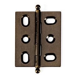 BH2A-AB-BALL solid brass inset cabinet hinge - Cliffside's BH2A hinge offers one of the cabinetmaking industry's tightest reveals. Designed for 3/4-inch inset doors, these solid brass hinges are extruded, rather than stamped, for extra durability. This 2-inch hinge features Cliffside's dark Antique Brass finish, one of 15 available colors, and the ball-tip finial.