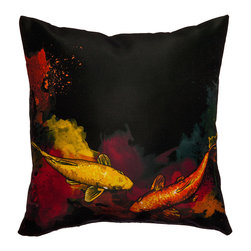 Maxwell Dickson - Maxwell Dickson Koi Fish Throw Pillow - Complement your bed or couch with this colorful fish pillow from Maxwell Dickson. This pillow features a bold dye sublimation art print and a concealed zipper closure. Made with 100 percent polyester,this pillow is also machine washable.
