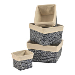 "Set of 4 Straw Storage Totes Washed Blue / Beige Liner - This set of 4 storage totes is made of woven straw with an easy-to-wash drawstring beige liner. Perfect for your bathroom, home or office, these baskets are great for storing towels, toys, blankets or anything else you need to organize. Wipe with a damp cloth. Shallow basket measures 5.12"" L X 4.72""W X 4.53""H, Small basket 7.09"" L X 5.90""W X 5.12""H, Medium basket 8.27"" L X 7.48""W X 5.51""H, Large basket 9.45"" L X 8.66""W X 5.91""H. Color washed blue with beige liner. This pretty set of straw storage tote baskets will bring a stylish touch to your decor as well as being functional and will be a welcomed addition to any bathroom! Complete your decoration with other products of the same collection. Imported."