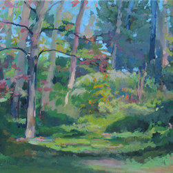 """Spring Path"" (Original) By Janet Howard-Fatta - This Is A Trail In The Audubon Property Behind My House. The Trees Were Budding Pink, And The Foliage A Bright, Light Green. Painted Plein-Air In The Spring."