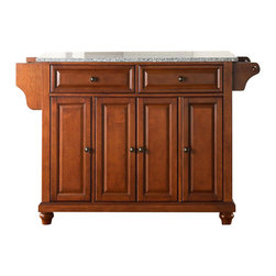 Crosley Furniture - Cambridge Solid Granite Top Kitchen Island in - Beautiful Raised Panel Doors. Antique Brass Finish Hardware. Total of Three Adjustable Shelves Inside Cabinet. Spice Rack with Towel Bar. Towel Bar / Paper Towel Holder. Solid Granite Top. Solid Hardwood & Veneer Construction. 36 in. H x 52 in. W x 18 in. D (160.5 lbs.)Constructed of solid hardwood and wood veneers, this kitchen island is designed for longevity. The beautiful raised panel doors and drawer fronts provide the ultimate in style to dress up your kitchen. Two deep drawers are great for anything from utensils to storage containers. Behind the four doors, you will find adjustable shelves and an abundance of storage space for things that you prefer to be out of sight. Style, function, and quality make this mobile kitchen cart a wise addition to your home.