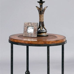 Bassett Mirror - Round End Table w Faux Leather Top & Lower Me - Bentley Collection. Lower shelf for extra storage. Table top is made of Faux leather and solid hardwood. Gun metal base. 22 in. Dia. x 23 in. H (27 lbs.)