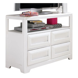 """Lea Industries - Lea Elite Reflections Media Cabinet in White - Lea Elite Reflections is a very contemporary style with simple design influences that accentuate any setting. The finish is a bright """"Aspen White"""" painted finish. The clean finish and clean lines of this group add to the design of the high end contemporary style. Heavy drawer frames that not only add weight, but act as handles to open drawers and help create a clean look to Reflections. Multiple unique sleep options and storage possibilities add style and function."""