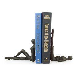 Danya B - Ladies Stretching Metal Bookend Set - Handcrafted cast iron bookend set of two women stretching in different positions. It is playful and each lady can be set either sitting or laying for a different effect. Great gift for women and yoga fans!