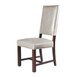 EuroLux Home - New Pair Gray Leather Dining Side Chairs - Product Details