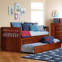 """Discovery World Furniture - Weston Twin Slat Bed - Features: -Twin bed.-Complete slat kit makes bed mattress-ready.-Bed features european roller glide drawers.-For bed, no foundation required.-Solid pine construction.-Please note: Trundle and/or storage drawer configuration can be featured on either side of the captain's bed.-Please note: The opposite side of captain's bed without trundle and/or storage drawer configuration is open.-Collection: Weston.-Distressed: No.-Powder Coated Finish: No.-Gloss Finish: Yes.-Non Toxic: Yes.-Scratch Resistant: No.-Joinery Type: Glued and doweled.-Mattress Included: No.-Fits Crib Mattress: No.-Recommended Mattress Height (Configuration: 3 Drawers + 1 Trundle Unit): Trundle 7"""".-Mattress Profile Maximum (Configuration: 3 Drawers + 1 Trundle Unit): Trundle 7"""".-Box Spring Required: No.-Number of Slats Required: 11.-Number of Slats Included: 11.-Center Support Legs: No.-Bed Rails: Yes.-Recommended Age Range: 3+.-Also Suitable for Adults: Yes.-Upholstered: No.-Wood Moldings: No.-Canopy Frame: No.-Lighted Headboard: No.-Light Type: No.-Adjustable Shelves: Yes.-Underbed Storage: Yes.-Thickness of Mattress Accommodated by Trundle: 7"""".-Guardrails: No.-Hidden Storage: No.-Jewelry Compartment: No.-Attached Nightstand: No.-Media Outlet Hole: No.-Built in Outlets: No.-Finished Back: Yes.-Commercial Use: No.-Eco-Friendly: Yes.Specifications: -Meets all ASTM and CPSC specifications.-CARB Compliant: Yes.-JPMA Certified: No.-General Conformity Certificate: Yes.Dimensions: -Overall Height - Top to Bottom: 37"""".-Overall Width - Side to Side: 42"""".-Overall Depth - Front to Back: 77"""".-Headboard Height Top to Bottom: 37"""".-Headboard Width Side to Side: 42"""".-Headboard Depth Front to Back: 1"""".-Footboard Height: 37"""".-Footboard Width - Side to Side: 42"""".-Footboard Depth - Front to Back: 1"""".-Interior Drawer Height Top to Bottom: 4.75"""".-Interior Drawer Width Side to Side: 18"""".-Interior Drawer Depth Front to Back: 15"""".-Trundle Height: 11"""".-Trundle Width - Side to"""