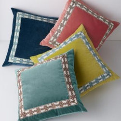 Garnet Hill - Cortland Decorative Pillow Collection - Crafted in plush cotton velvet with grosgrain ribbon border, these pillows upgrade any room with harmonious design that's equal parts posh and approachable. Deluxe down/feather insert included. Made in USA. Size: 22 in. x 22 in.