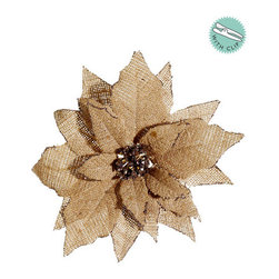 Silk Plants Direct - Silk Plants Direct Glittered Edge Burlap Poinsettia (Pack of 12) - Tan - Pack of 12. Silk Plants Direct specializes in manufacturing, design and supply of the most life-like, premium quality artificial plants, trees, flowers, arrangements, topiaries and containers for home, office and commercial use. Our Glittered Edge Burlap Poinsettia includes the following: