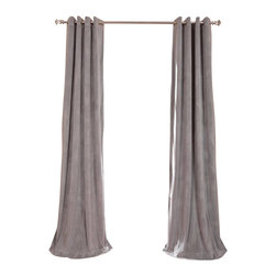 Exclusive Fabrics & Furnishings, LLC - Signature Silver Grey Grommet Blackout Velvet Curtain - 100% Poly Velvet. Grommet. Plush Blackout Lining . Imported. Dry Clean Only.