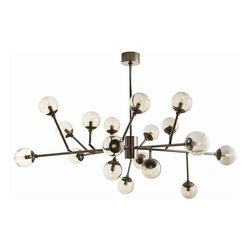 Arteriors - Dallas Chandelier - Direct this dramatic chandelier to suit your individual taste. Its nickel-finished arms are adjustable, and its 18 lights can feature bulbs of your choosing — such as the orbed option shown here.