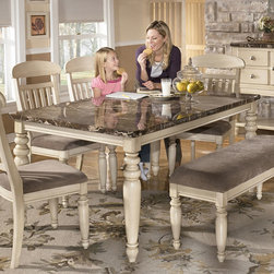 "Ashley Manadell Dining Room Collection - With a rich craftsmanship that shines through the turned details bathed in a warm buttermilk color finish along with faux marble tops, the ""Manadell"" Dining Collection takes cottage styled furniture to the next level with the exquisite design of this inviting dining room collection."