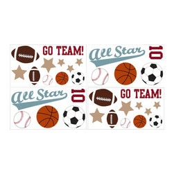 Sweet Jojo Designs - All Star Sports Wall Decal Set of 4 Sheets by Sweet Jojo Designs - The All Star Sports Wall Decal Set of 4 Sheets by Sweet Jojo Designs, along with the  bedding accessories.