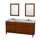 """Wyndham Collection - Hatton 72"""" Light Chestnut Double Vanity w/ White Carrera Marble Top & Oval Sink - Bring a feeling of texture and depth to your bath with the gorgeous Hatton vanity series - hand finished in warm shades of Dark or Light Chestnut, with brushed chrome or optional antique bronze accents. A contemporary classic for the most discerning of customers. Available in multiple sizes and finishes."""
