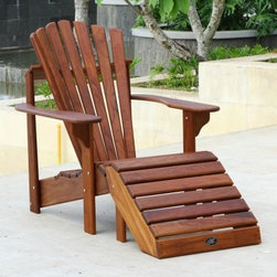 Hyre's Country Haven Teak Adirondack Chair - Beautifully designed and handcrafted for outstanding comfort, the Hyre's Country Haven Teak Adirondack Chair elevates any outdoor setting. This handsome Adirondack chair is made of solid teak wood and features a teak oil finish. It's naturally insect-, rot-, and fungus-resistant and is made to look good and be comfortable season after season. Details include rounded edges, plugged screw holes, and a contoured back and seat that let you relax in true style. About Hyre's Country HavenSince 1991 Hyre's Country Haven has been creating and distributing high quality outdoor furniture throughout the United States and Europe. Quality craftsmanship and a commitment to a high level of customer service has been the founding principal the company has thrived on. Using Meranti Mahogany and Teak woods, each piece is handcrafted to the highest standards and designed for lasting beauty and outstanding durability.Trees4Trees This product features teak wood via a partnership between Hyres and Trees4Trees, a program dedicated to environmental improvement and community development. Trees4Trees establishes mutually beneficial relationships with localized communities to espouse and practice sound, sustainable forestry. For more information please visit www.trees4trees.org.