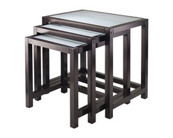 Winsome - Winsome Copenhagen Nesting Table Set with Glass top in Dark Espresso - Winsome - Nesting Tables - 92333 - These Copenhagen Nesting Tables are elegant and modern.  Group them together or use them individually to around the house.