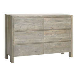 Boerum 6-Drawer Dresser - I like this solid wood dresser for its natural look and functional use. It can easily fit in with any bedroom decor, and it can be dressed up with accessories or kept simple with a single lamp and a few other essentials.