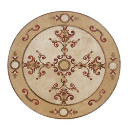 "Floor Medallions Online - 36"" Waterjet Medallion - Torrington - The Torrington waterjet stone medallion is amongst the most unique of the Floor Medallions Online collection. Accented with beautiful red tile, the Torrington is a bold choice for any entrance!"