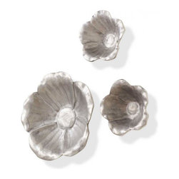 Aluminum Bloom Flowers - Set of 2 - These multifunctional flowers are made from 100% aluminum and give any room a pop of blooming life. Use them as bowls in the kitchen or in the foyer for holding onto keys and loose change. A keyhole mount allows for easy hanging as beautiful wall accents as well.