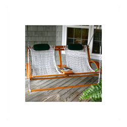 Deluxe Bent Oak Porch Swing - This is the ultimate front porch swing. It has comfortable arms and a divider in the middle where you can rest a drink. I think the most clever part of this rocker is the footrest that is attached. Ultimate comfort!