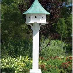 Lazy Hill Farms Blue Verde Copper Roof Carousel Bird House - A handsome addition to your garden space, the Lazy Hill Farms Blue Verde Copper Roof Carousel Bird House features graceful lines and a weathered blue verde copper roof. This carousel shaped bird house is constructed of solid cellular vinyl in white that has the look and feel of authentic wood yet requires little maintenance. This bird house includes a metal plate for post mounting and the blue verde roof removes for easy cleaning of the six separate compartments inside. About Lazy Hill Farm Designs Lazy Hill Farm Designs is a leader in garden and birding accessories. They are known for turning exquisite designs into exceptional quality garden accessories. All Lazy Hill Farm products are made of solid cellular vinyl that looks and feels like genuine wood yet requires no maintenance. All the roofs are removable for easy cleaning and each one is handcrafted in America. These are among the finest garden accessories on the market.