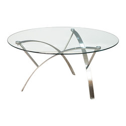 Great Deal Furniture - Davina Tempered Glass Round Accent Table w/ Chrome Legs, Coffee Table - Add a modern touch to any room in your home with the Davina Round Glass Coffee Table. This table is made with tempered glass for durability and modern designed chrome finished legs. The clean lines and curved legs give this table a sculptural feel, giving this piece artistic dimension. The Davina Glass Coffee Table offers the perfect touch of modern elegance to your home.