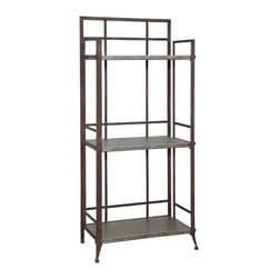 "Powell - Powell Foundry ""Antique Pewter"" Tall 3-Shelf Bookcase with Gallery Crown X-0... - The Foundry Tall 3-Shelf Bookcase with gallery crown is crafted from sturdy metal and finished in an ""Antique Pewter"".  Accented with small rounded feet, this piece features clean straight lines that would complement styles from contemporary to traditional.  The spacious and deep three shelves provide ample storage and display space.  Some assembly required."