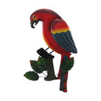 Tropical Red Parrot on Leafy Branch Metal Wall Hanging - Add a vibrant splash of color to your tropically themed decor with this metal parrot wall hanging. It measures 18 inches tall, 12 inches wide, and easily mounts to the wall with a single nail or screw by the hanger on the back. This piece adds a cheerful accent to homes, bars, or restaurants and is sure to be admired.