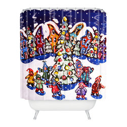 DENY Designs - DENY Designs Renie Britenbucher Oh Christmas Tree Shower Curtain - Who says bathrooms can't be fun? To get the most bang for your buck, start with an artistic, inventive shower curtain. We've got endless options that will really make your bathroom pop. Heck, your guests may start spending a little extra time in there because of it!