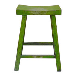 "Golden Lotus - Chinese Green Lacquer U-Shaped Bar Stool - Dimensions: 20""Wx16""Dx25.25""H"