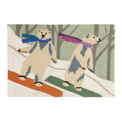 "Trans-Ocean Inc - Boarding Bears Snow 24"" x 36"" Indoor/Outdoor Rug - Richly blended colors add vitality and sophistication to playful novelty designs. Lightweight loosely tufted Indoor Outdoor rugs made of synthetic materials in China and UV stabilized to resist fading. These whimsical rugs are sure to liven up any indoor or outdoor space, and their easy care and durability make them ideal for kitchens, bathrooms, and porches; Primary color: Multi;"