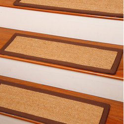 "None - Handcrafted Attachable Alexandria Natural Fiber Sisal 9"" x 29"" Carpet Stair Trea - Protect your stairs in style with this set of 13 carpet stair treads made with sisal and jute. These beautiful stair treads are hand crafted and easily attachable and detachable."