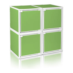 Way Basics - Way Basics 4 Box Storage Cube Stackable, Green - Box will easily stack, connect and align to create your perfect organizer! Form a 4-tiered nightstand or a side by side double cubby and accessorize with a door to hide that inevitable clutter. The simple, modern design of the Bo will complement and adorn any room.