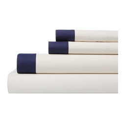 """Dwell Studio - Dwell Studio Modern Border Admiral Sheet Set - Available in full, queen & king sizesThis is the DwellStudio take on bedding basics. Our design team based this set on the classic bedding found in the most luxurious hotels around the world. The soothing admiral border adds a chic tailored feel to the bedroom. Our Modern Border bedding is made with 400-thread count pima cotton percale that is combed three times on each side, which gives our fabric its silky soft feel. Every set includes a flat sheet, fitted sheet and two pillowcases.Features:- 400 Thread count- Pima cotton percale construction- Cleaning & Care: Machine wash separately in cold water. Do not use bleach or detergents containing bleach. Tumble Dry low. Warm iron if necessary.Dimensions:Full Sheet Set Includes:1 flat sheet 92"""" x 104""""1 fitted sheet 54"""" x 74"""" 2 standard pillowcases 20"""" x 26""""Queen Sheet Set Includes:1 flat sheet 92"""" x 104""""1 fitted sheet 60"""" x 80"""" 2 standard pillowcases 20"""" x 26""""King Sheet Set Includes:1 flat sheet 108"""" x 104""""1 fitted sheet 78"""" x 80"""" 2 king pillowcases 20"""" x 36"""""""