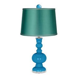 """Color Plus - Contemporary River Blue Apothecary Lamp-Finial and Satin Sea Green Shade - Enhance the beauty of your home with the bold River Blue designer color of this apothecary style Color + Plus™ glass table lamp. Hand-crafted by experienced artisans in our California workshops the lamp features a matching color ball finial at the top to really make the design pop. It stands on a lucite base and is topped with a specially-selected sea green satin drum shade. River Blue glass table lamp. Matching color ball finial. Sea green satin drum shade. Lucite base. Maximum 150 watt or equivalent bulb (not included). On/off switch. 32"""" high. Shade is 14"""" across the top 16"""" across the bottom 11"""" high. Finial is 2 1/2"""" wide 3"""" high.  River Blue glass table lamp.  Matching color ball finial.  Sea green satin drum shade.  Lucite base.  Maximum 150 watt or equivalent bulb (not included).  On/off switch.  32"""" high.  Shade is 14"""" across the top 16"""" across the bottom 11"""" high.  Finial is 2 1/2"""" wide 3"""" high."""