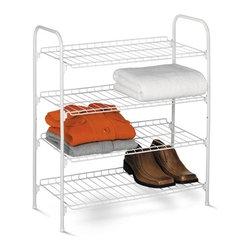 4-Tier Wire Shoe & Accessory Shelf/Closet Shelves, White - Dimensions:  24.8 in l x 11.8 in w x 27.6 in h (63 cm l x 30 cm w x 70.1 cm h)