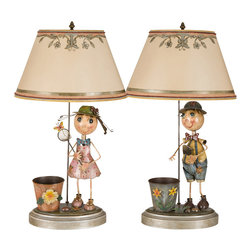 Happy Friends Custom Table Lamp, Boy or Girl - This unique & one of a kind custom lamp have been converted into a universal lamp perfect for any project for childrens environment. Handmade shades were made specially for this unique pair of lamps with silver leaf designs. Custom colored trims were added to the shade to bring life & elegance to the lamps. All custom work was done by the artist & owner of Dilusso Antique Custom Lamps. Our lamps are made from specific pieces that we pick up & know that we can create a unique & one of a kind custom lamp, adding many steps on each piece until we build a unique custom lamp. This has been our business experience for 26 years with many decorators, antique dealers, & private client's. When we install these pieces of art in many residential homes the owners give us lots of gratitude for our rare custom work that we provide for our valuable clients.We hope to be part of your lighting projects as well. The measurements are based on the size of the shade. 40W.
