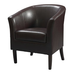 Linon - Simon Club Chair in Black - Flared armrests. Some Assembly Required. Weight Limit: 275 lbs. Hardwood frame. 28.25 in. W x 25.5 in. D x 33 in. H (40.79 lbs)This modern Simon Club Chair features high arms and a deep seat, while the arching backrest and flared armrests provide a retro-modern design that is perfect for any setting. The chair is accentuated by tightly woven stitching and upholstered with stain and fade resistant wipe-clean Blackberry colored vinyl. The hardwood frame will provide strength and stability for years to come. The arms and back are generously padded for extra comfort.