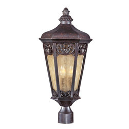 Maxim Lighting - Maxim Lighting Lexington VX Traditional Outdoor Post Lantern X-UCSN07104 - Each of the windows on this tapered Maxim Lighting outdoor post lantern features a beautiful botanical themed filigree pattern highlighted by a charming Colonial Umber finish. From the Lexington VX Collection, this post light also features early American influencing complimented by elegant night shade glass window panes that pull the look together.