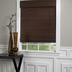 None - Privacy Bamboo Roman Shades in Walnut Finish - Energy efficient,eco-friendly and child safe,this Roman shade crafted of real bamboo adds an organic feel to your home. The dark walnut finish of this window treatment provides shade and  privacy.