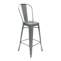 Kathy Kuo Home - Graham Industrial Loft Steel Outdoor Safe French Deco Bar Stool - Smooth, polished silver metal adds Industrial style to this simple, clean-lined bar stool. Both modern and retro at the same time, this versatile stool can be used outside on the patio or inside around your bar. Anywhere it goes, this seat is the best one in the house.