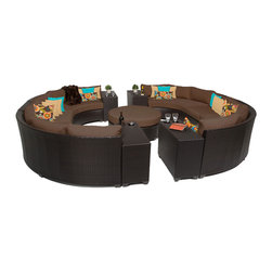 TKC - Bermuda 11 Piece Outdoor Wicker Patio Furniture Set 11b 2 for 1 Cover Set - Sink into the plush Cushions comfortably fitted between our Bermuda's curved arms. Espresso-colored all-weather rattan is expertly hand woven, wrapping every inch of the durable aluminum frame. Sturdy rust-resistant powder coated feet are color matched to Table Tops. Thick all-weather Cushions are enveloped in 2-year fade resistant acrylic upholstery.