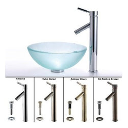 Kraus - Kraus Frosted 14 inch Glass Vessel Sink and Sheven Faucet Satin Nickel - *Add a touch of elegance to your bathroom with a glass sink combo from Kraus