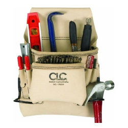 """Custom Leathercraft - 8Pkt Leather Carpenter Bag - Reversed Top Grain Leather. Two Large capacity main nail/tool pockets; 6 Smaller pockets fit pencils, nail sets, pliers, etc. Fits belts up to 2 3/4"""" wide; 2 Steel hammer loops."""